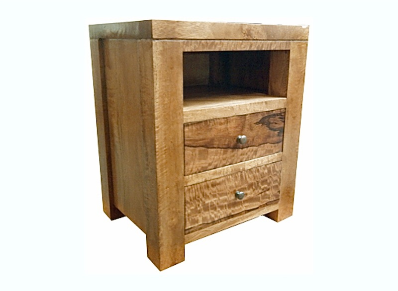 Fruitwood open shelf 2 drawer bedside
