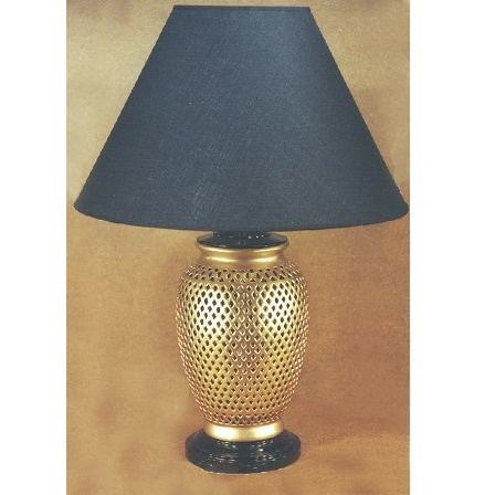 3421 Gold Ceramic With Cut Outs Lamp